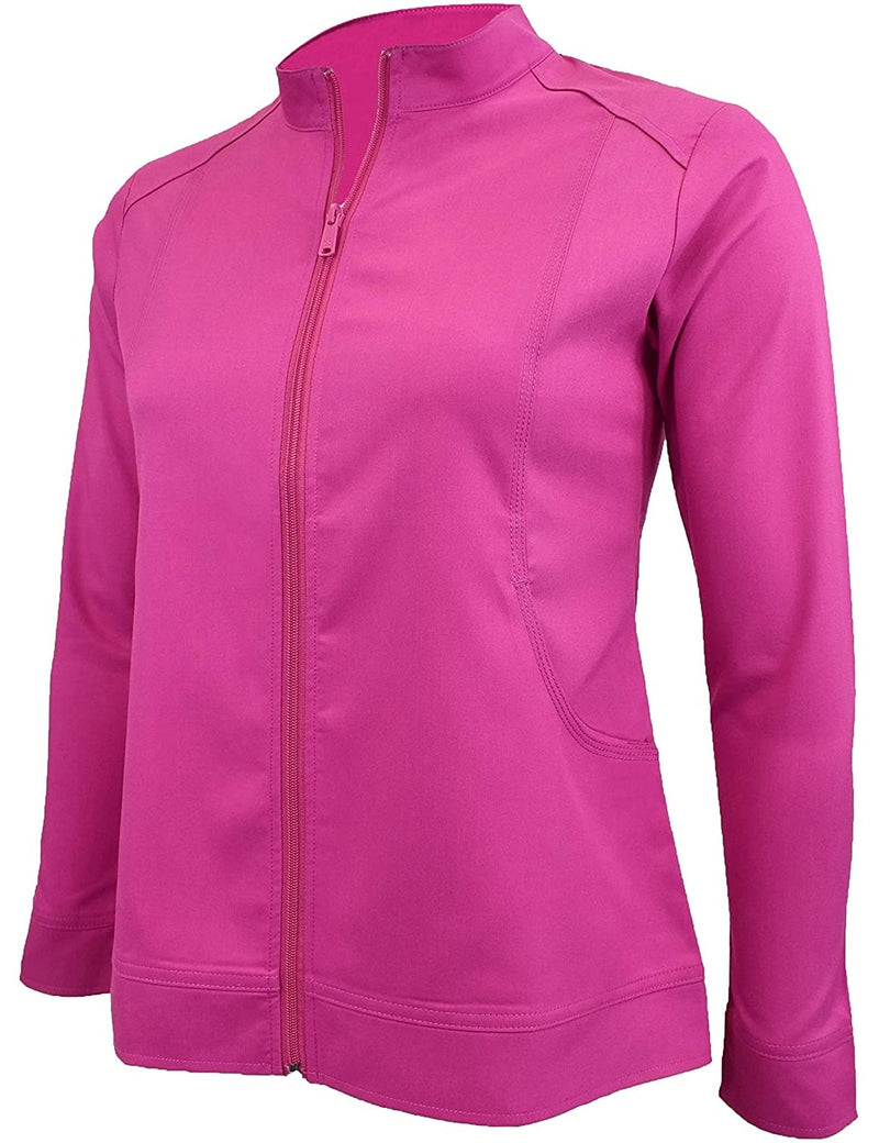 M&M Scrubs Women's Ultra Soft Front Zip Warm-Up Scrub Jacket (5200) Hot Pink