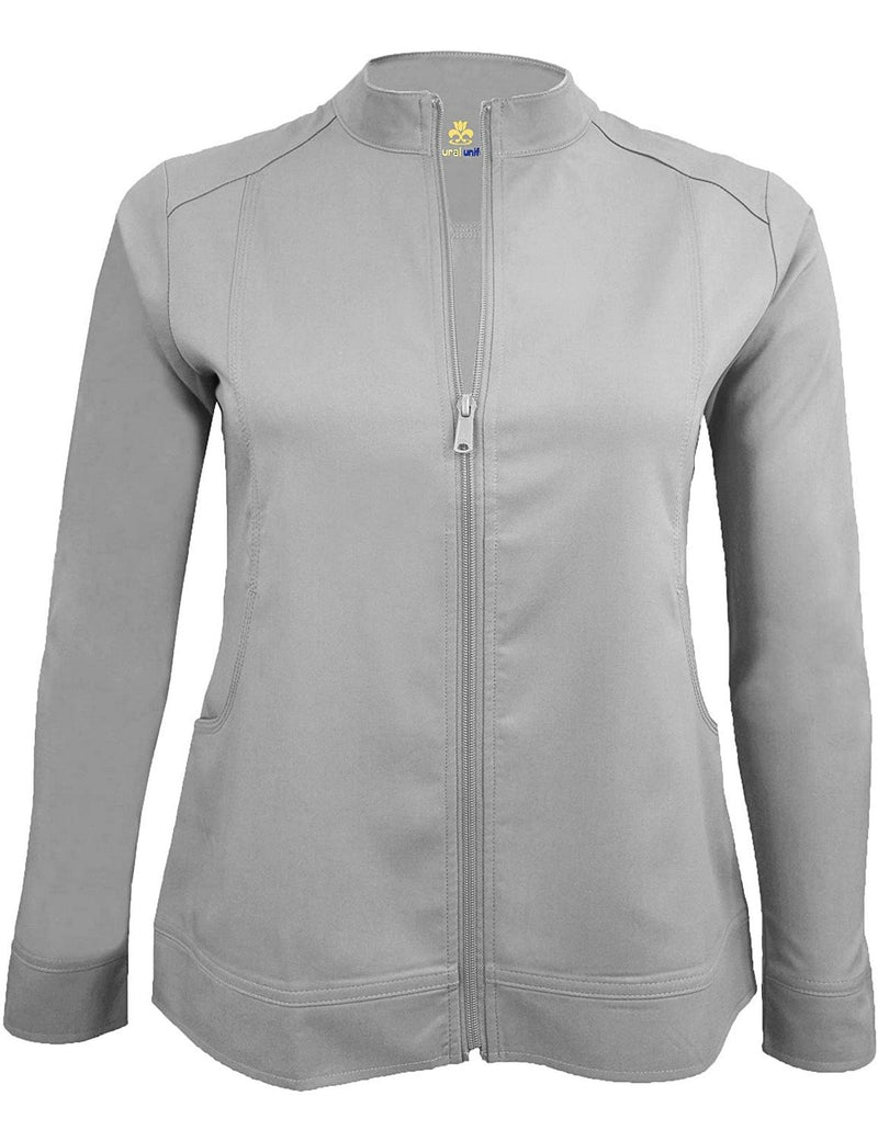 M&M Scrubs Women's Ultra Soft Front Zip Warm-Up Scrub Jacket (5200) Grey