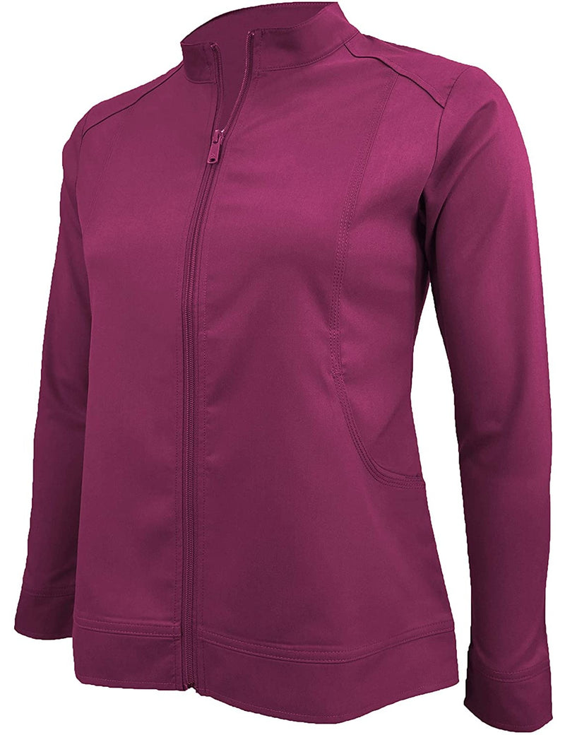 M&M Scrubs Women's Ultra Soft Front Zip Warm-Up Scrub Jacket (5200) Burgundy