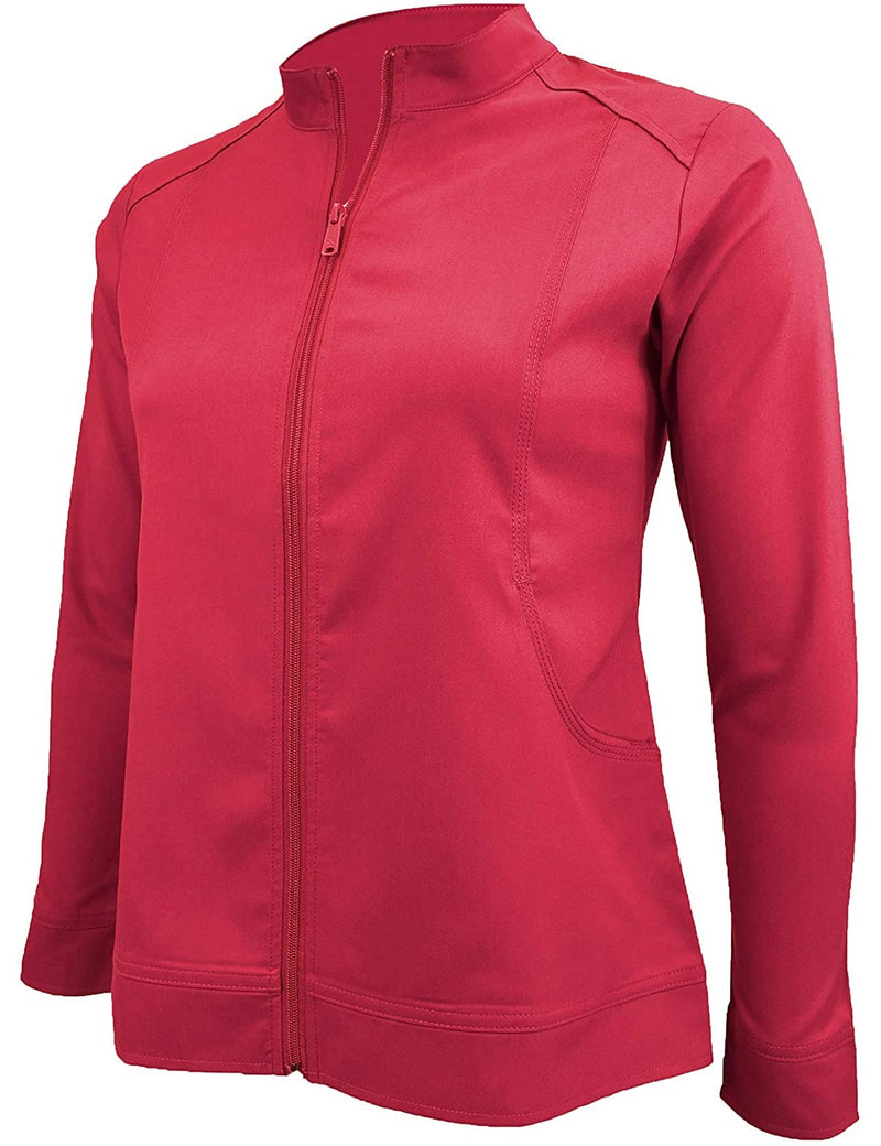 M&M Scrubs Women's Ultra Soft Front Zip Warm-Up Scrub Jacket (5200) Red