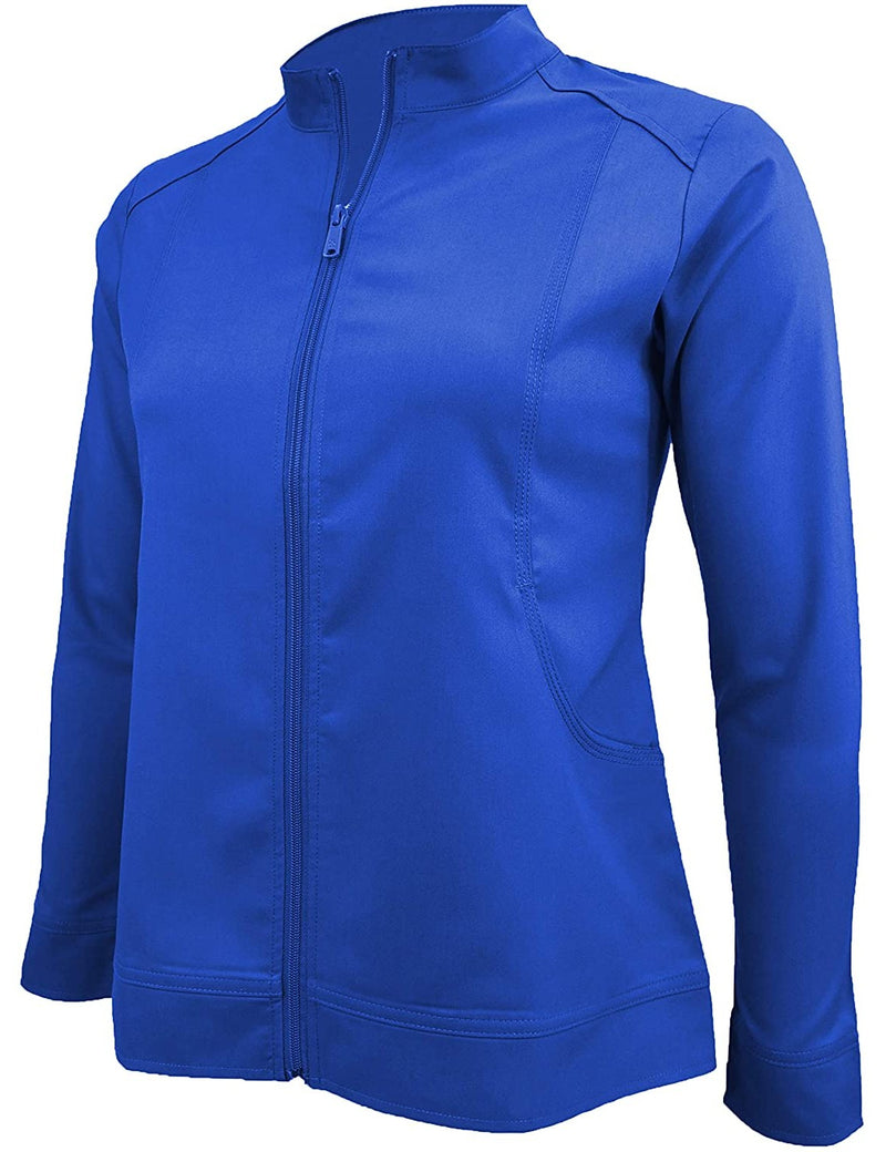 M&M Scrubs Women's Ultra Soft Front Zip Warm-Up Scrub Jacket (5200) True Royal Blue