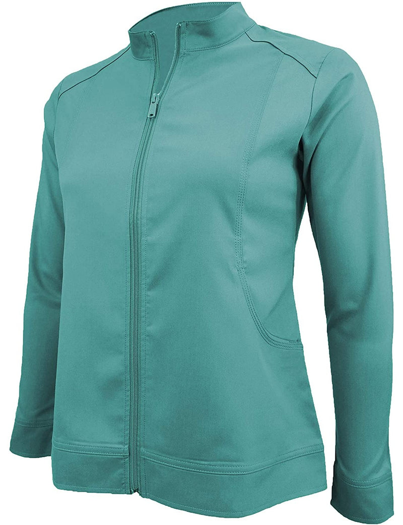 M&M Scrubs Women's Ultra Soft Front Zip Warm-Up Scrub Jacket (5200) Teal