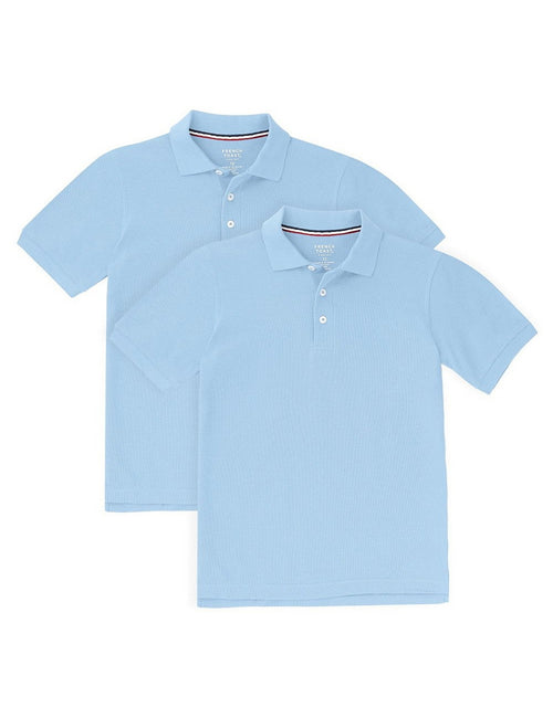French Toast Boys Uniform Polo 2 Pack Short Sleeve Pique Light Blue