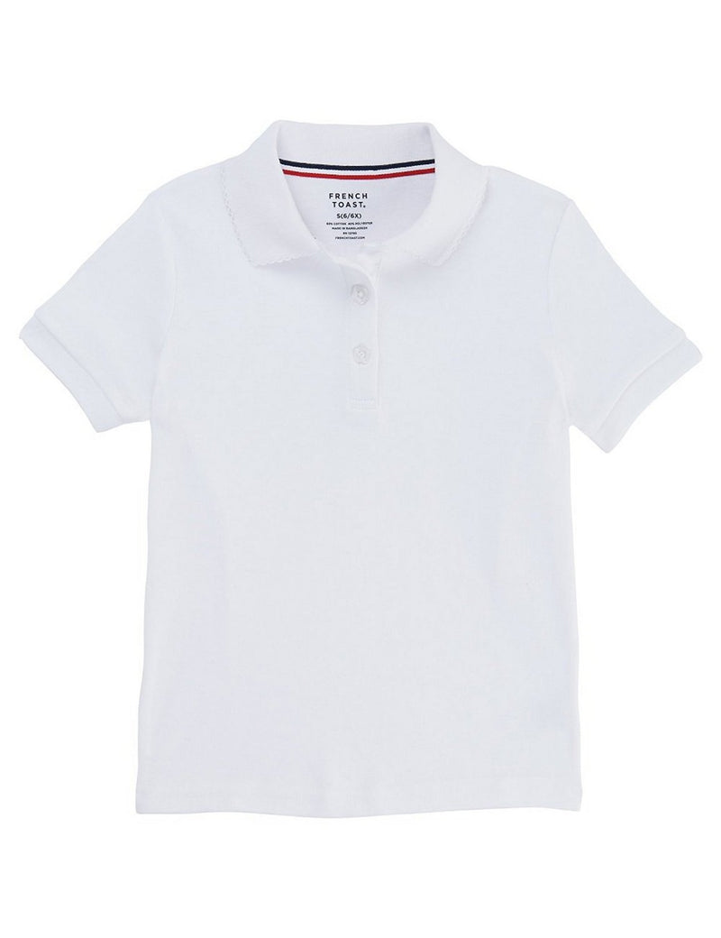 French Toast Girls' Short Sleeve Interlock Polo With Picot Collar White