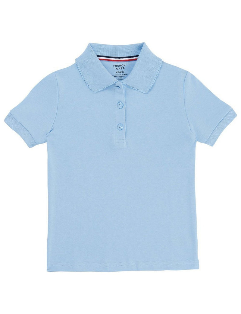 French Toast Girls' Short Sleeve Interlock Polo With Picot Collar Light Blue