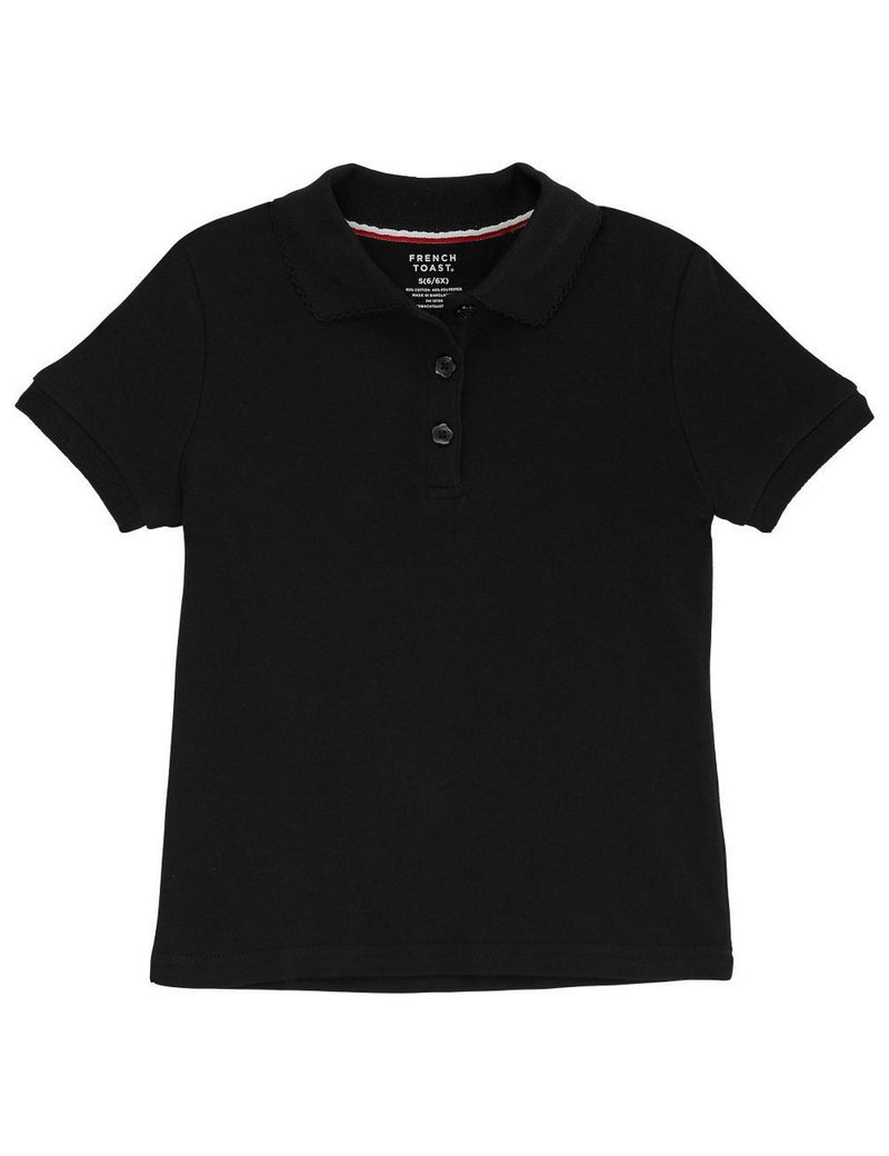 French Toast Girls' Short Sleeve Interlock Polo With Picot Collar Black