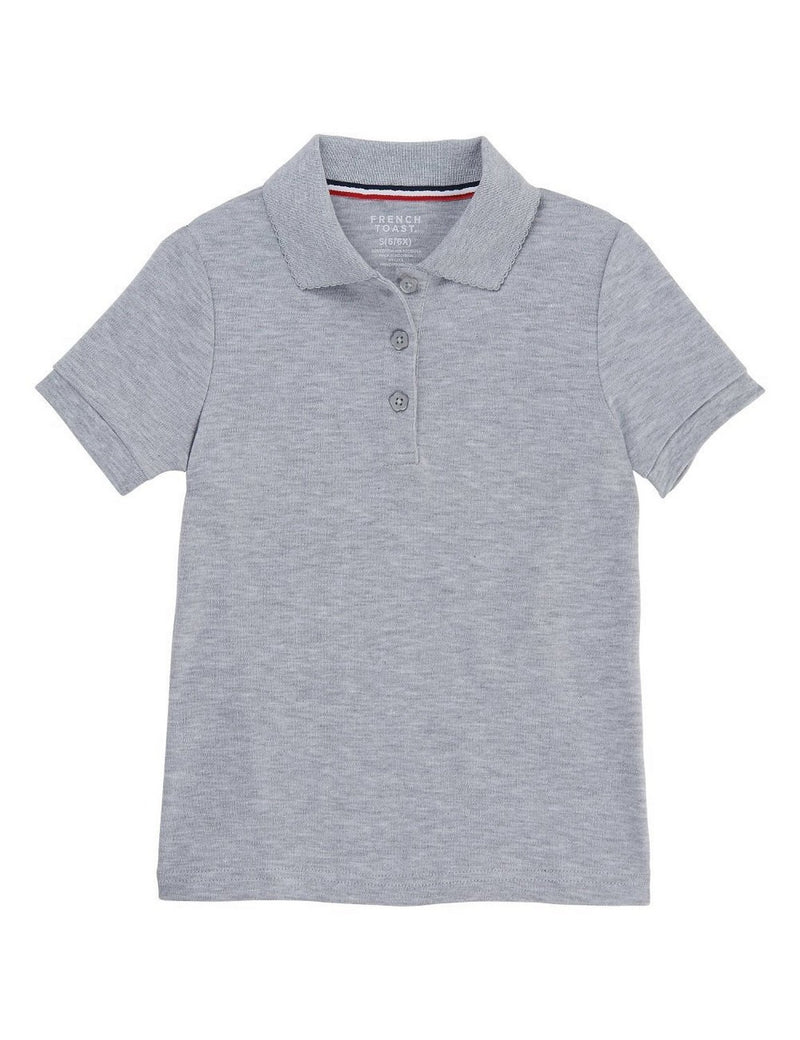 French Toast Girls' Short Sleeve Interlock Polo With Picot Collar Grey
