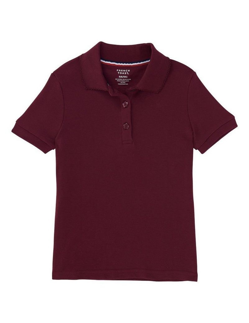 French Toast Girls' Short Sleeve Interlock Polo With Picot Collar Burgundy