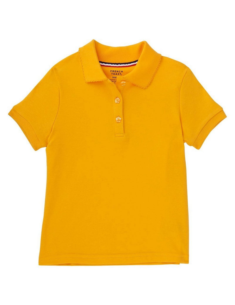French Toast Girls' Short Sleeve Interlock Polo With Picot Collar Gold