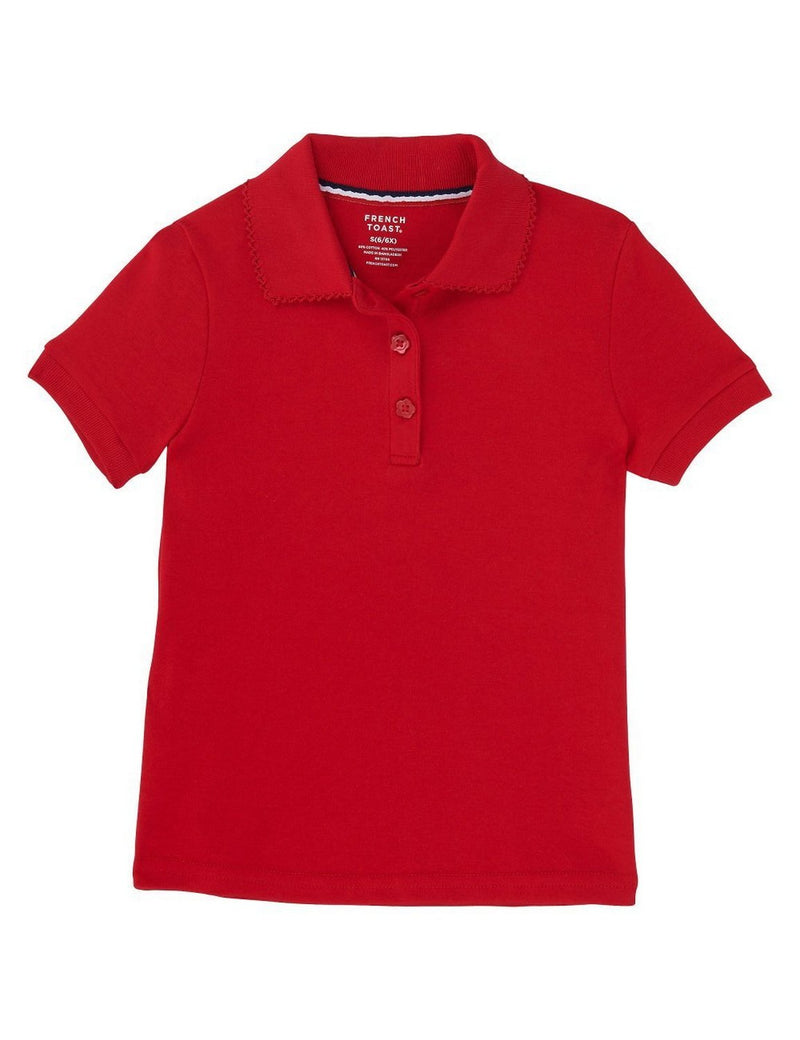 French Toast Girls' Short Sleeve Interlock Polo With Picot Collar Red