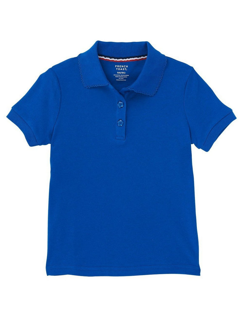 French Toast Girls' Short Sleeve Interlock Polo With Picot Collar Royal
