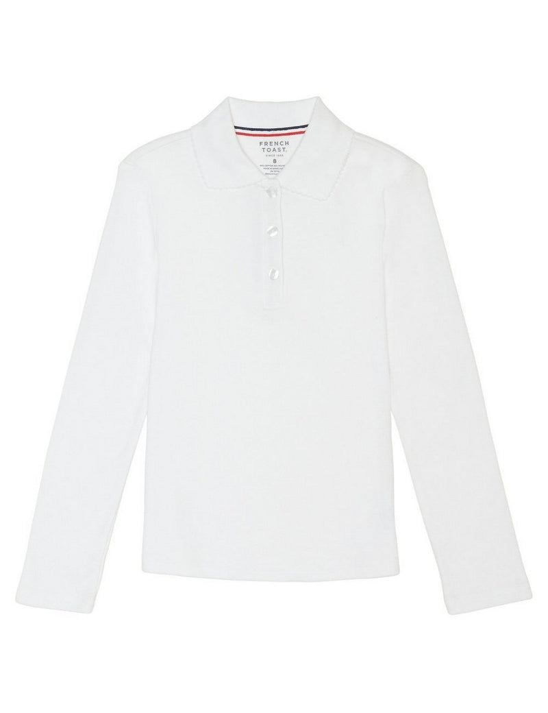 French Toast Girls' Long Sleeve Interlock Polo With Picot Collar White
