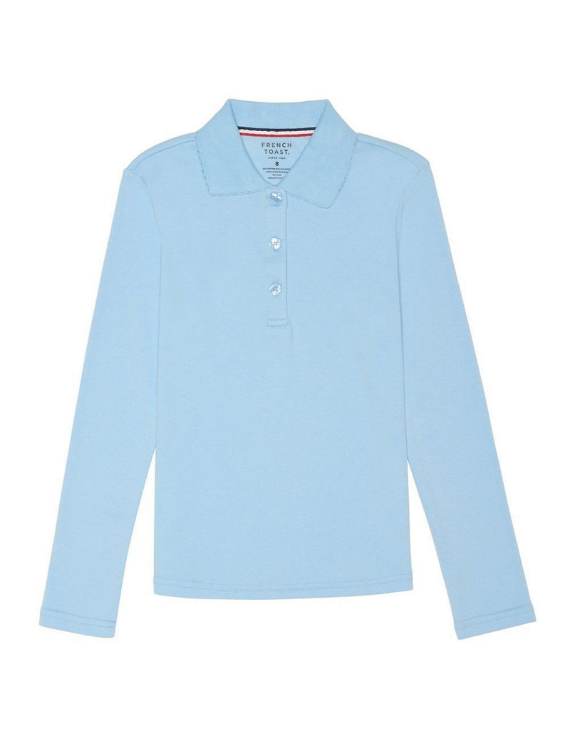 French Toast Girls' Long Sleeve Interlock Polo With Picot Collar Light Blue