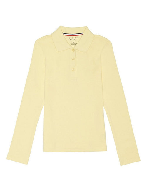 French Toast Girls' Long Sleeve Interlock Polo With Picot Collar Yellow
