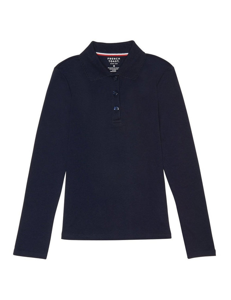 French Toast Girls' Long Sleeve Interlock Polo With Picot Collar Navy