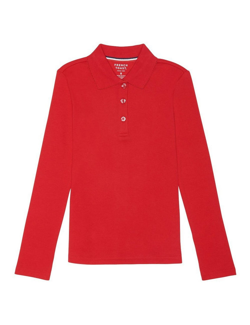 French Toast Girls' Long Sleeve Interlock Polo With Picot Collar Red