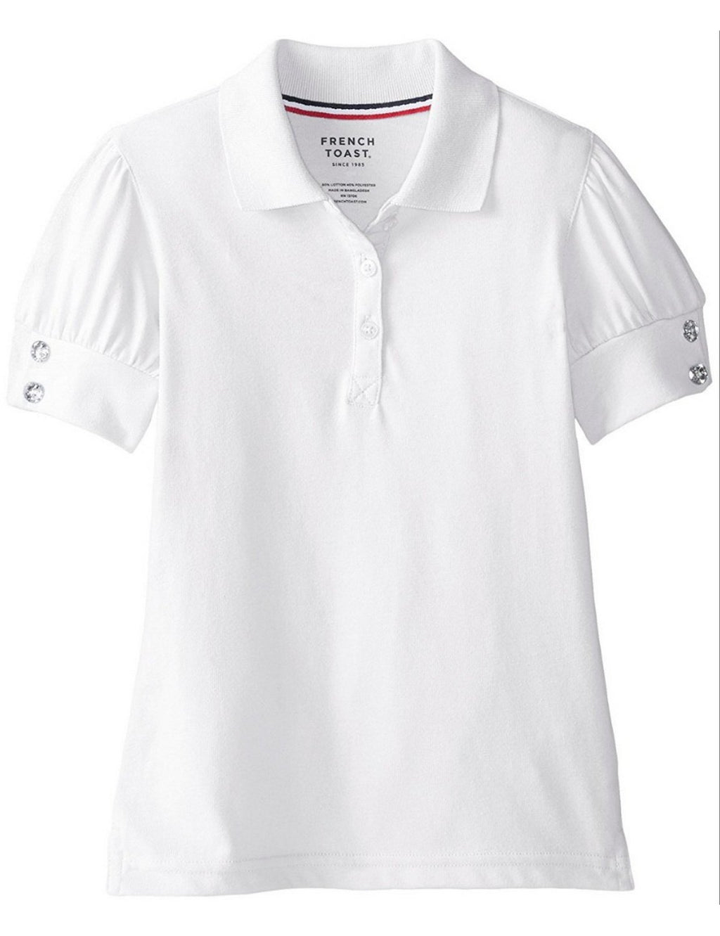 french-toast-girls'-puff-sleeve-double-button-polo