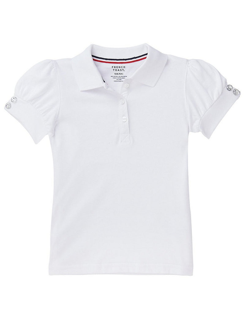 French Toast Girls' Puff Sleeve Double Button Polo White