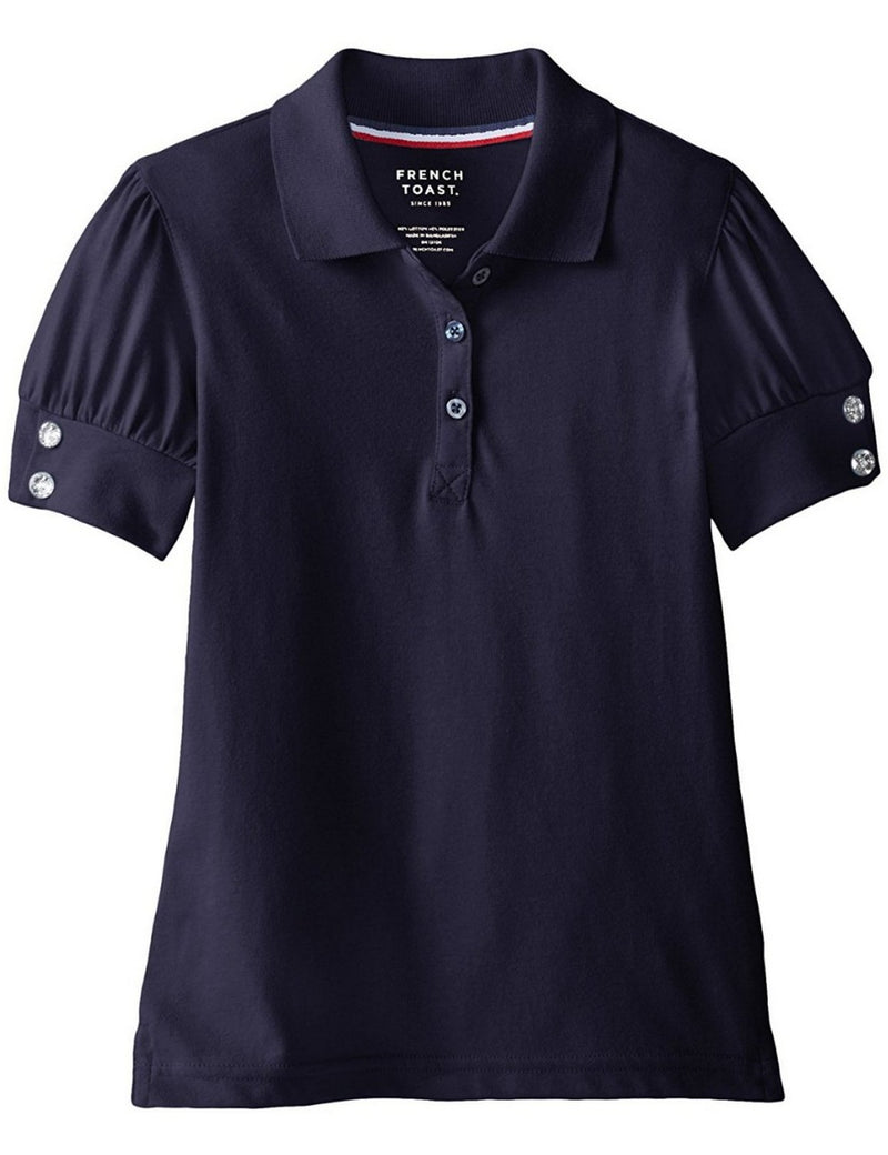 French Toast Girls' Puff Sleeve Double Button Polo Navy
