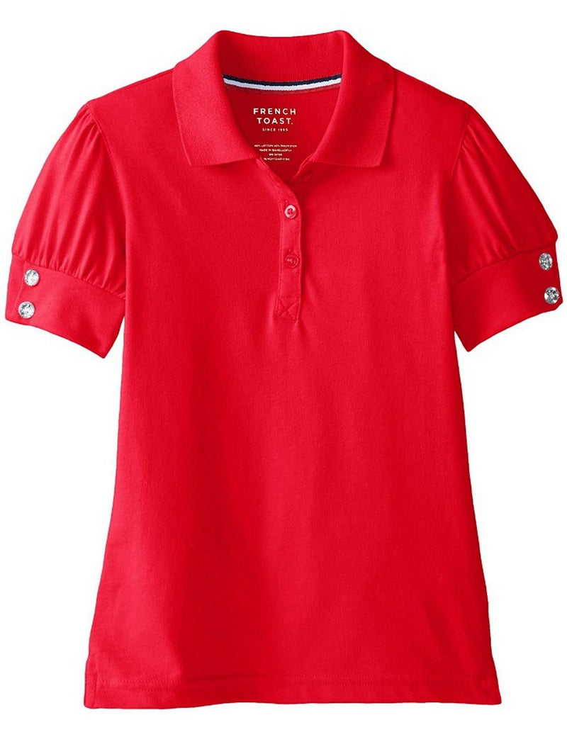 French Toast Girls' Puff Sleeve Double Button Polo Red