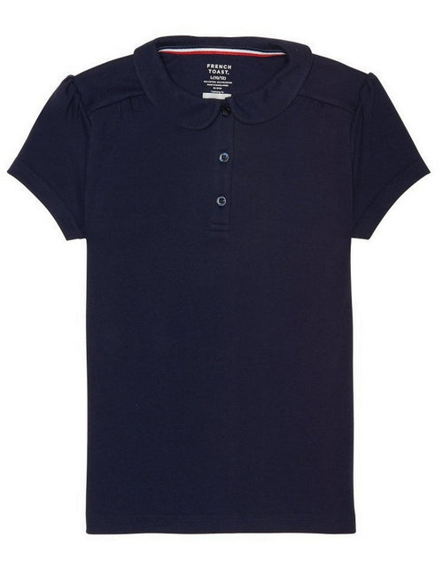 French Toast Girls' Short Sleeve Peter Pan Collar Polo Navy