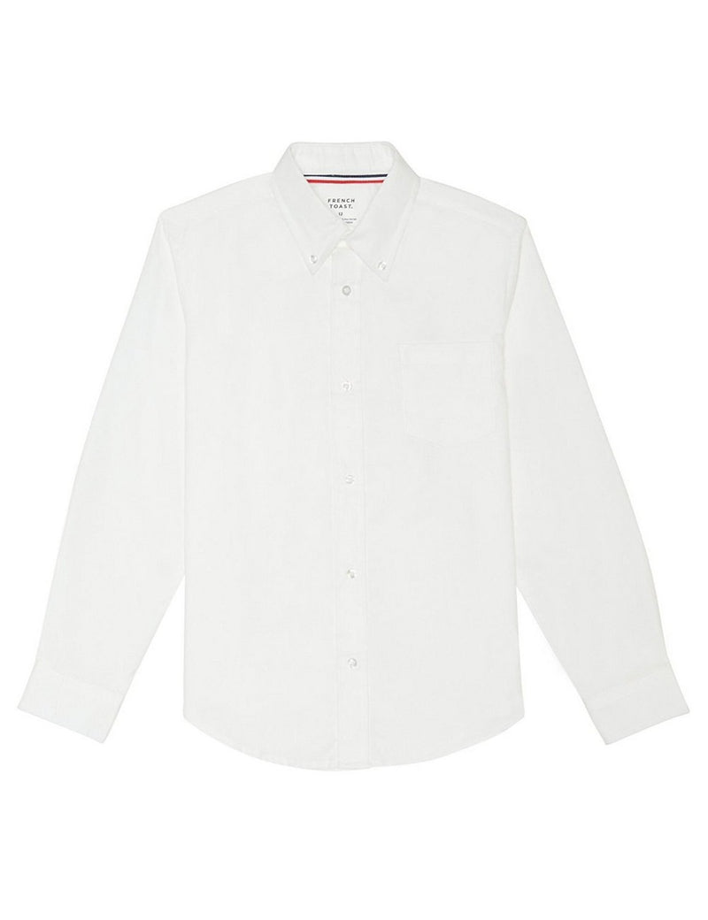 French Toast Boys' Long Sleeve Oxford Dress Shirt White