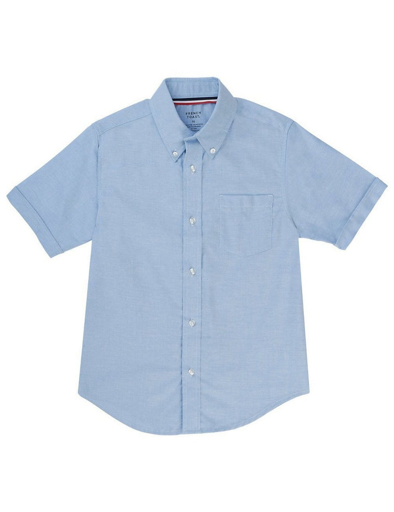 French Toast Boys' Short Sleeve Oxford Dress Shirt Light Blue