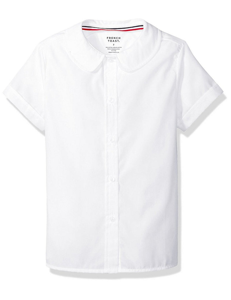 French Toast Girls' Short Sleeve Peter Pan Collar Blouse White