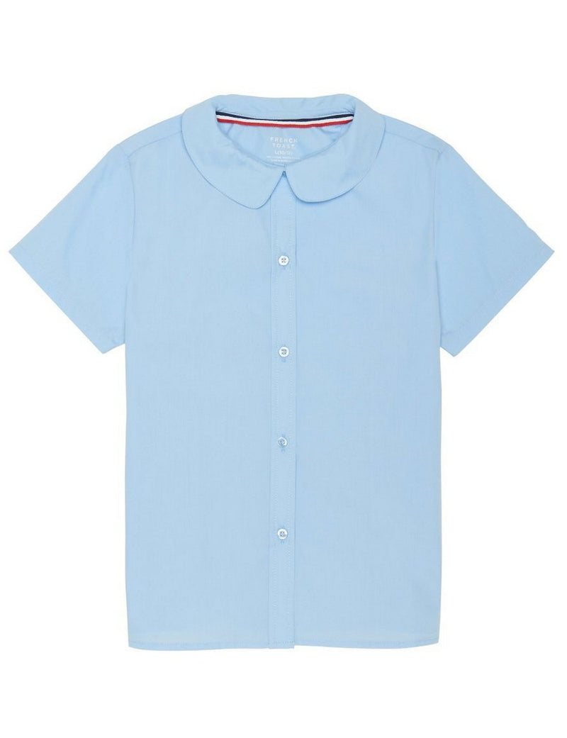French Toast Girls' Short Sleeve Peter Pan Collar Blouse Light Blue