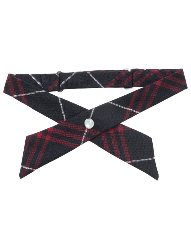 French Toast Girls' Adjustable Cross Tie Plaid Navy/Red Plaid