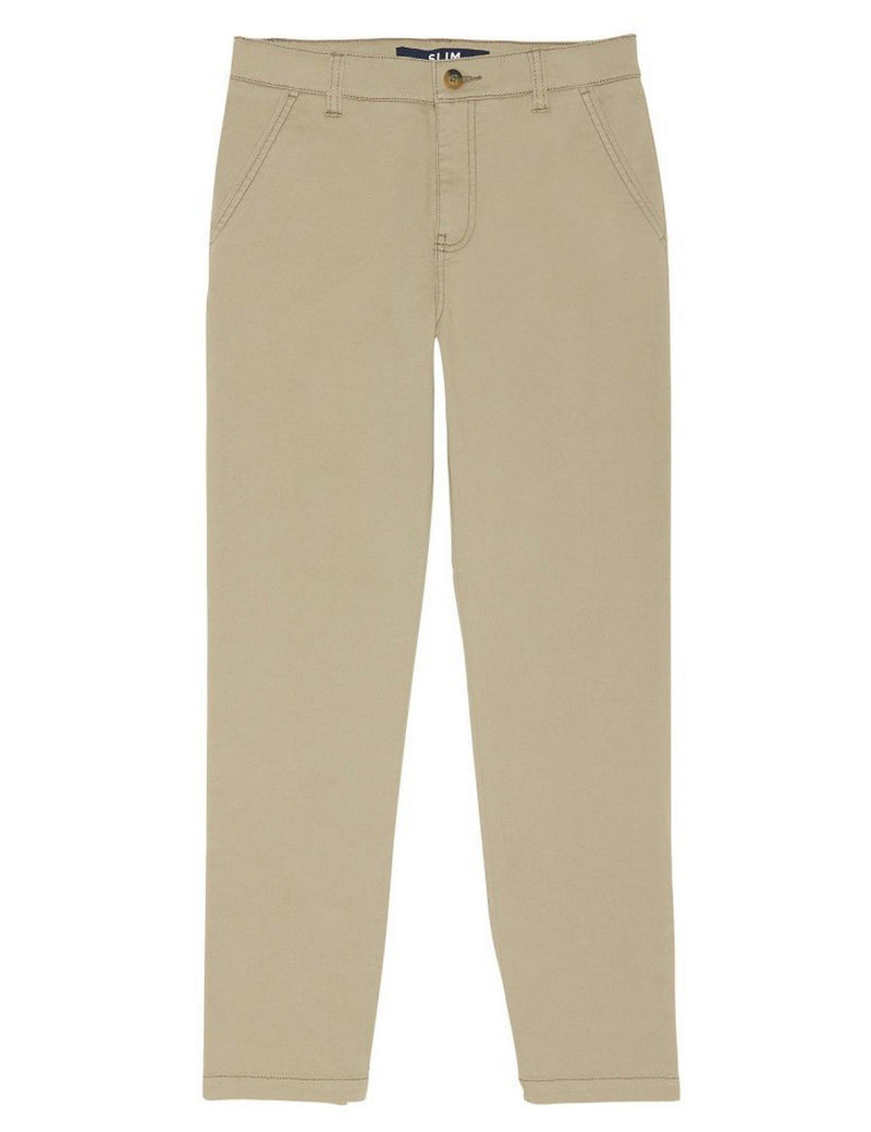 French Toast Boys' Slim Fit Stretch Chino Pant Khaki