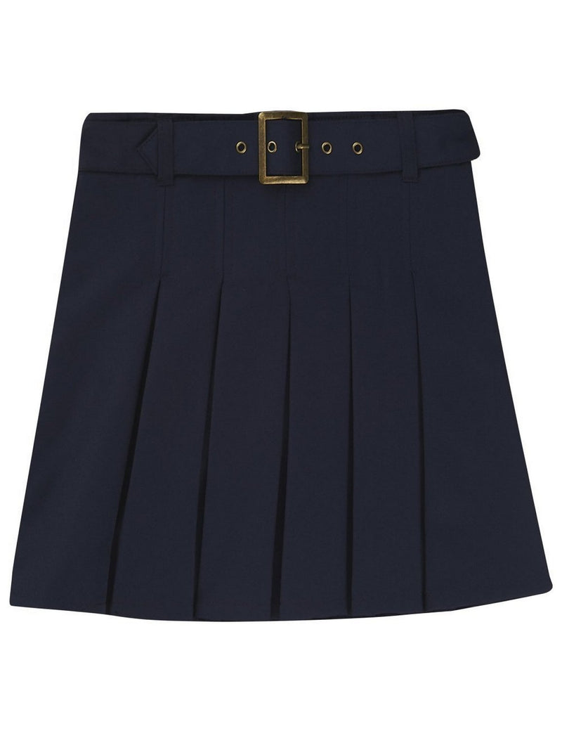 French Toast Girls' Pleated Scooter With Square Buckle Belt Navy