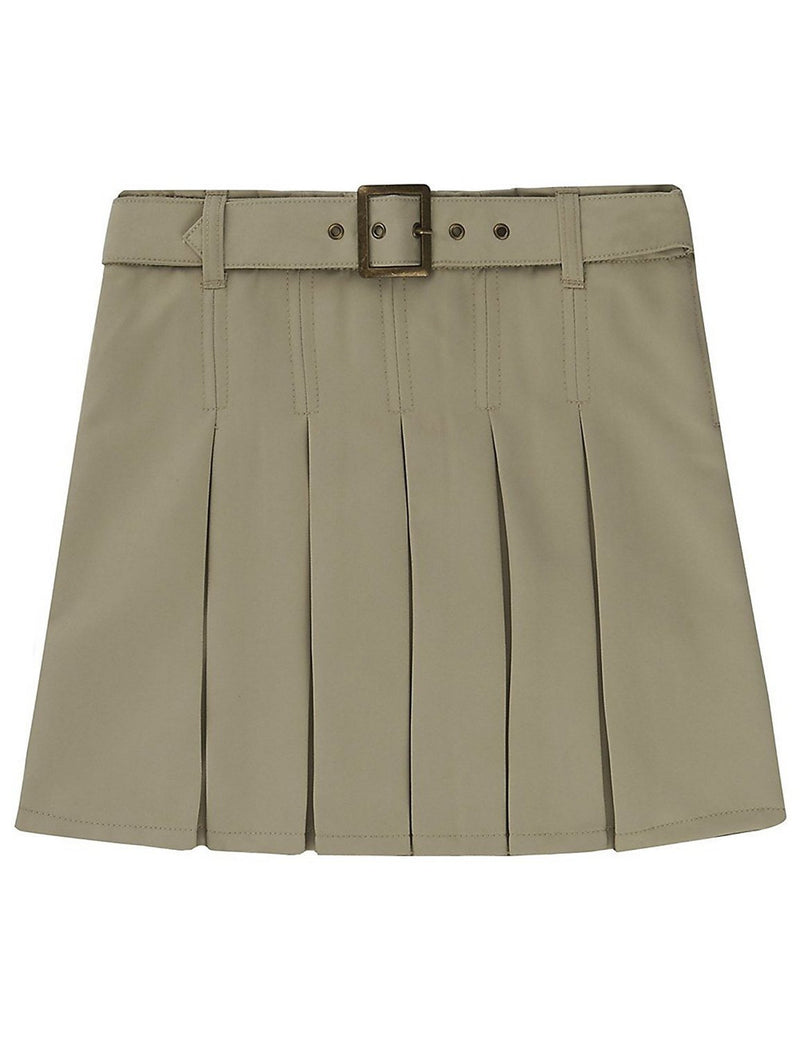 French Toast Girls' Pleated Scooter With Square Buckle Belt Khaki