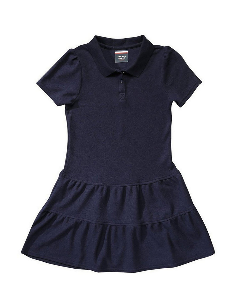 French Toast Girls' Ruffled Pique Dress Navy
