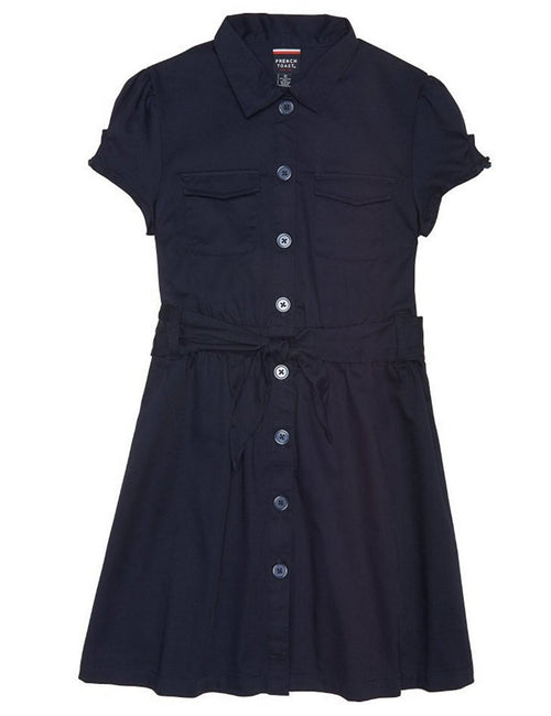 French Toast Girls' Twill Safari Shirtdress Navy