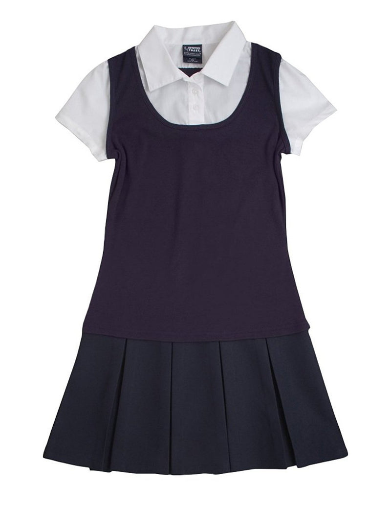 French Toast Girls' Twofer Pleated Dress Navy