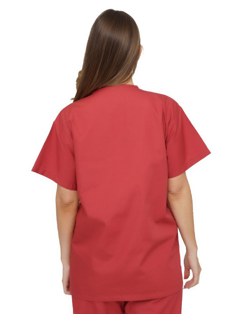 Lizzy-B V-neck Scrub Top Brick