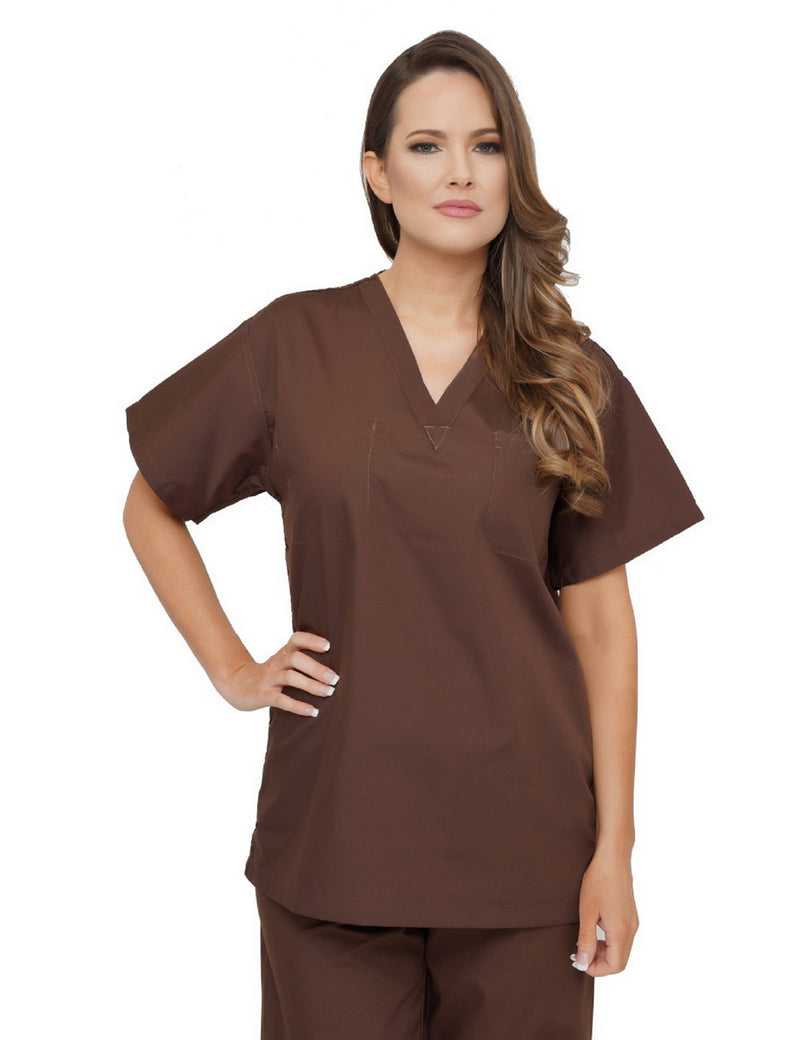 Lizzy-B V-neck Scrub Top Brown