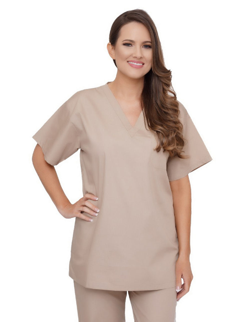 Lizzy-B V-neck Scrub Top Khaki