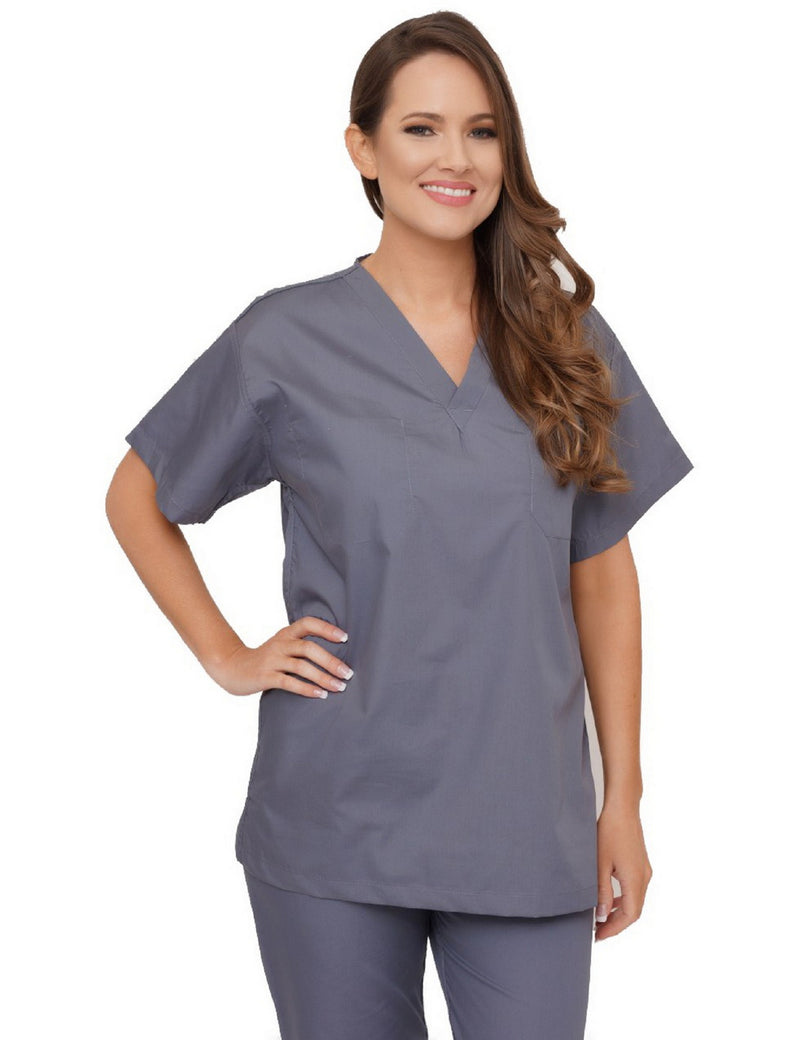 Lizzy-B V-neck Scrub Top Grey