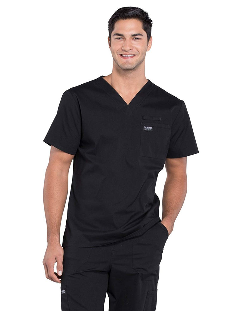 Cherokee WW Professionals WW675 Men's V-Neck Top Black