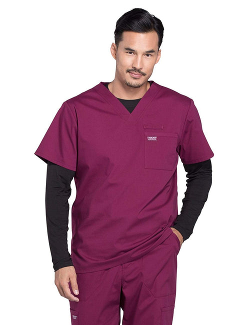 Cherokee WW Professionals WW675 Men's V-Neck Top Burgundy