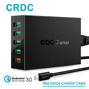 CRDC 5 Ports Smart Mobile Phone Charger,Desktop USB Charger