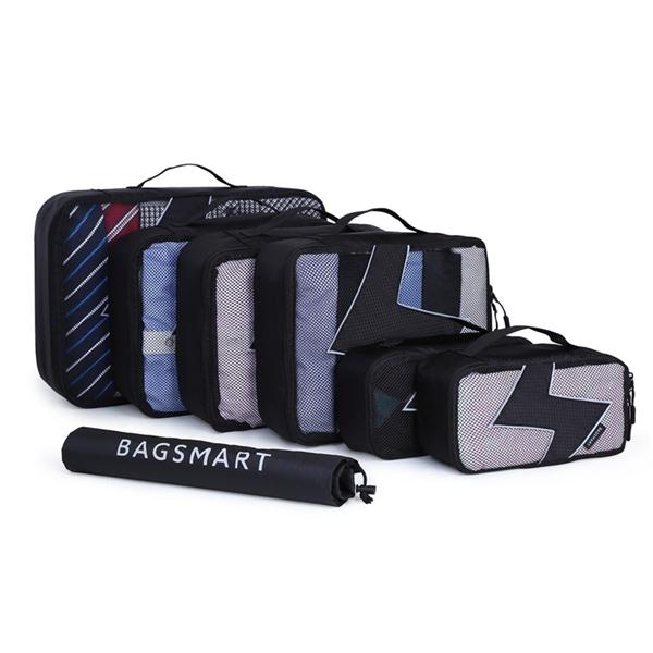 BAGSMART 7 Pcs Waterproof Nylon Packing Cubes For Clothes and Shoes