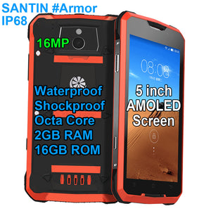 "SANTIN #Armor 16G Rugged IP68 Waterproof Shockproof 5"" AMOLED Octa Core 4G LTE Android Mobile Phone"