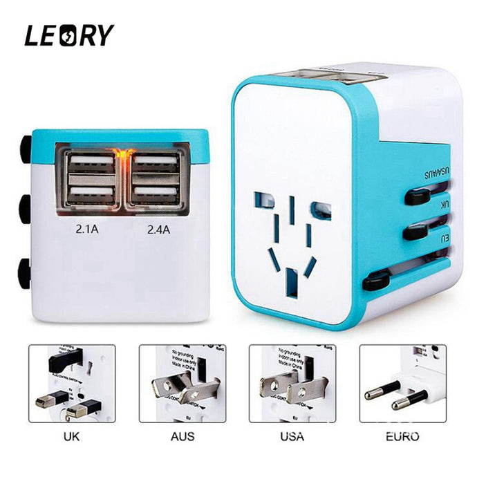 LEORY Universal Plug Adapter with 4 USB Ports AU US UK EU