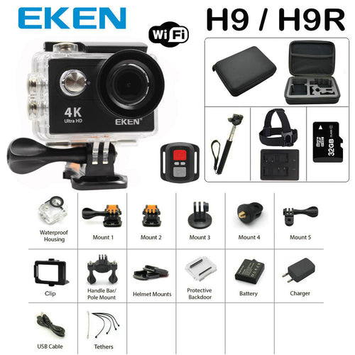 Action Camera Eken H9/H9R Ultra HD 4K 30M sport 2.0' Screen 1080p FHD Waterproof