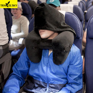 Travelsky Inflatable H-Shape Folding Neck Travel Pillow