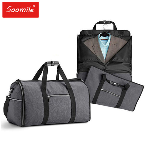 Soomile 2 in 1 Men's Duffle Bag and Foldable Garment Bag for Travel