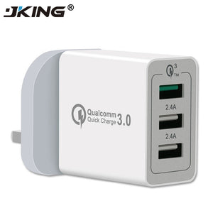 JKING UK Plug USB Fast Charger for Samsung S7 S8 Xiaomi iPhone iPad